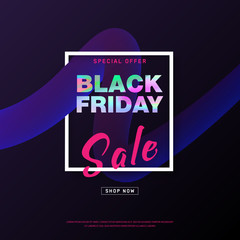 Black Friday banner. Shopping discount promotion. Vector illustration