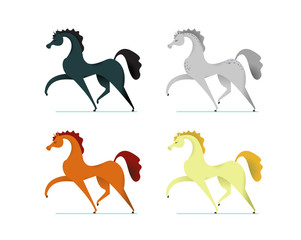 Decorate poster with horse in cartoon style. Vector illustration.