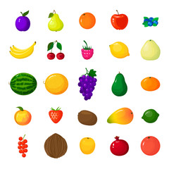 Set of colorful cartoon fruit icons. Vector illustration berries and fruits in cartoon style. Isolated icons