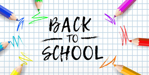 Back to school poster with colorful pencils and text. Vector illustration.