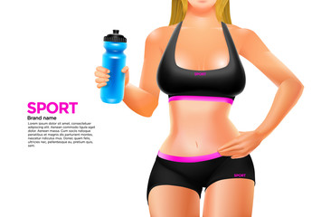 Young woman's body in sport style wear keeps a bottle in her hand. Vector illustration.