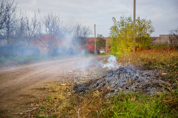Burning leaves, fire while cleaning the garden. Autumn chores on the farm.