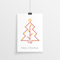 Technology style christmas poster or gift card with a one line christmas tree and sockets. Futuristic merry christmas graphic.