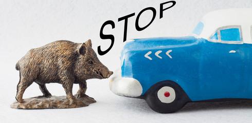 STOP JABALÍ Y COCHE