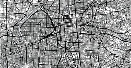 Urban vector city map of Nagoya, Japan