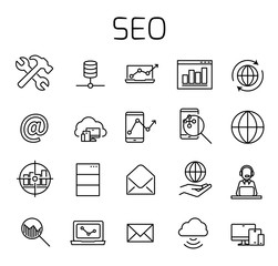 SEO related vector icon set.