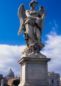 Baroque sculpture of an angel by Gian Lorenzo Bernini on the Pont Sant Angelo in Rome, Italy