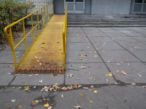 ramp for wheelchair disabled people at office building
