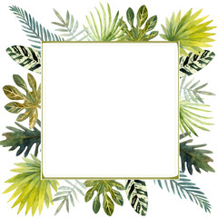 Watercolor frame of colorful tropical leaves. For invitations, greeting cards and Wallpapers.