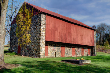 Restored wood and stone barn