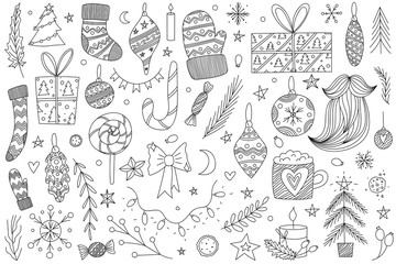black and white hand drawn vector christmas doodle set with ornaments, santas socks and mittens, pine trees, candy cane, lollipop, bow, candies, santas beard, stars, christmas tree lights and presents
