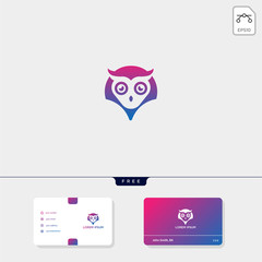 Owl concept creative logo template and business card design template include. vector illustration and logo inspiration