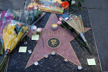 Flowers and mementos are pictured on the star of late Marvel Comics co-creator Stan Lee on the Hollywood Walk of Fame in Los Angeles