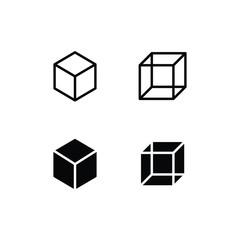 Cube Icon Logo Vector Symbol. Square Icon