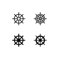 Ship Wheel Icon Logo Vector Symbol. Helm Icon