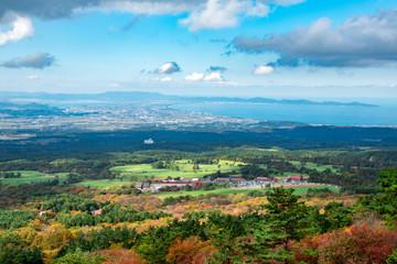 大山、桝水高原展望台からの眺望 The view from Masumizu highland at Mt. Daisen in Tottori pref. Japan. We can see breathtaking view including The Sea of Japan there.