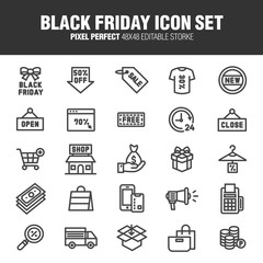 [BLACK FRIDAY ICON SET] A set of Black Friday related icons.A set of Black Friday related icons. Editable stroke. 48×48 Pixel Perfect.