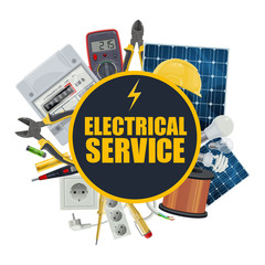 Electricity equipment, electrical service, vector