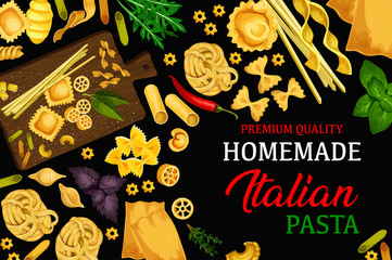 Italian homemade pasta, vector menu