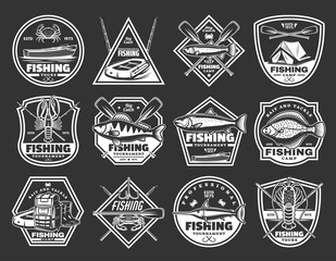 Fishing port and fisher vector icons