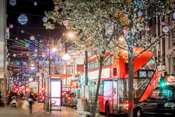 Oxford street decorated for Christmas Fotomurales