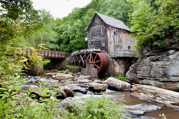 Glade Creek Grist Mill at Babcock State Park, West Virginia with stream and rocks