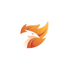 Modern 3D flame, fire and bird phoenix logo