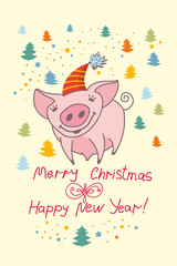 Cute greeting card with a pretty pig. Merry Christmas & Happy New Year! Decor small multicolored christmas trees. Vector New Year's design.