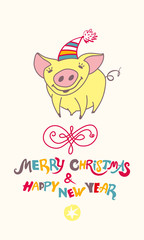 Cute greeting card with a pretty yellow pig. Merry Christmas & Happy New Year! Christmas decor. Vector New Year's design.