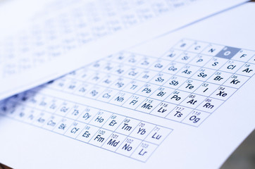 Periodic Table on white paper