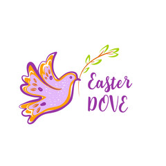 Easter holiday. Template banner, logo. Silhouette dove with branch isolated on white background