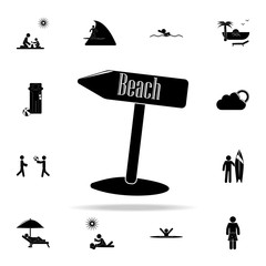 arrow on the beach icon. Beach holidays icons universal set for web and mobile