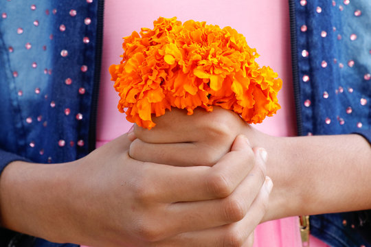 Girl holding yellow marigold flower bouquet with her both hands