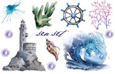 set with sea elements. lighthouse, wave, algae. Isolated on white background.