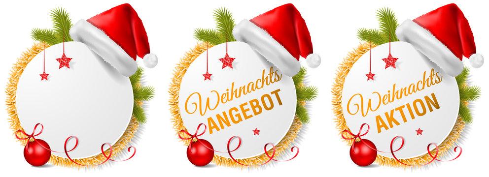 Weihnachten Aktion Angebot Buttons Vektor Set mit Nikolaus Weihnachtsmann Mütze