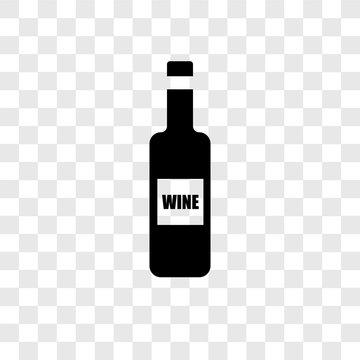 Wine bottle vector icon isolated on transparent background, Wine bottle transparency logo design