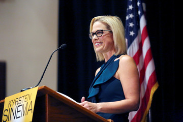 Democratic candidate Sinema speaks to supporters after officially winning the U.S. Senate race in Scottsdale