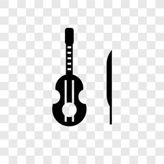 Violin vector icon isolated on transparent background, Violin transparency logo design