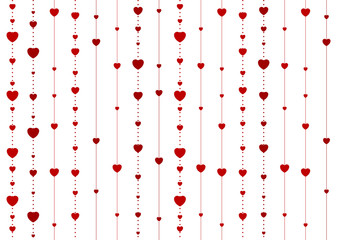 Red abstract hearts on white vector background