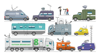 Broadcast car vector tv vehicle broadcasting van with antenna satellite media communication and television transport illustration set of breaking live news technology auto isolated on white background