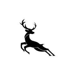 silhouette deer with great antler/animal/ vector illustration logo inspiration