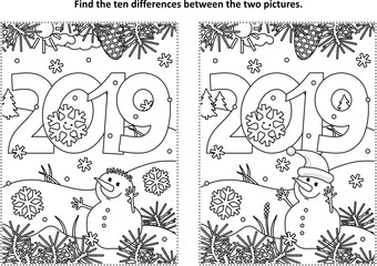 Year 2019 themed find the ten differences picture puzzle and coloring page with year 2019 heading and winter scene