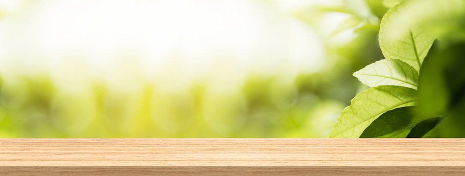 Wood table top and blur natural background in garden for product and display montage banner size