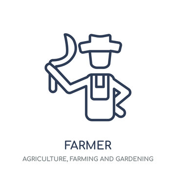farmer icon. farmer linear symbol design from Agriculture, Farming and Gardening collection.