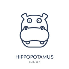 Hippopotamus icon. Hippopotamus linear symbol design from Animals collection.