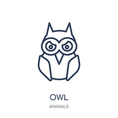 Owl icon. Owl linear symbol design from Animals collection.