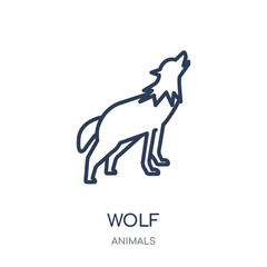 Wolf icon. Wolf linear symbol design from Animals collection.