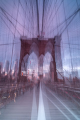 Abstract  brooklyn bridge view from walkway at sunrise
