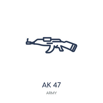 AK 47 icon. AK 47 linear symbol design from Army collection. Simple element vector illustration. Can be used in web and mobile.