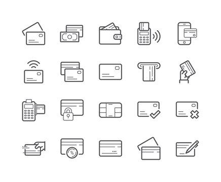 Minimal Set of Credit Card Line Icon